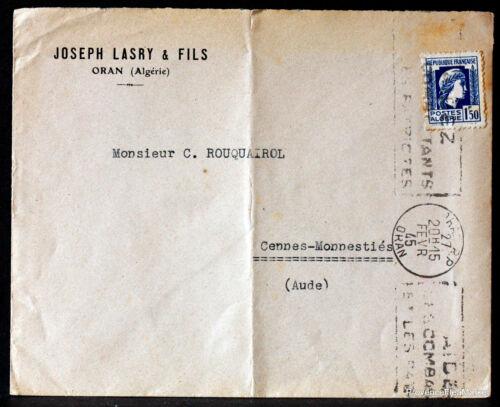 ALGERIE  1945  LETTRE JOSEPH LASRY   166CA39