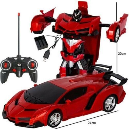 Remote Control with Cool Light Robot Transformation Car Kids Toy Christmas Gifts