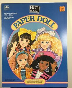 Vintage 1988 HOT LOOKS Mattel 80's Paper Dolls Golden Book 4 Dolls Mint
