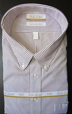 20-36/37 Tall Nwt Fast Color see Descrip Honey Roundtree Yorke Dress Shirt White Striped