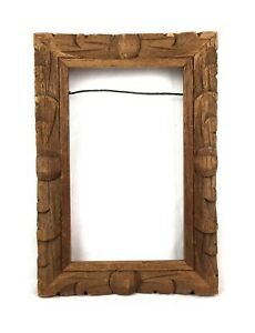 Antique-Primitive-Folk-Art-Wood-Hand-Carved-Ornate-Picture-Frame-Fits-5-5-x-3-5