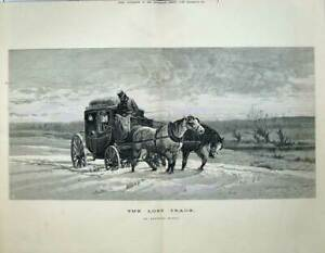 Original Old Antique Print 1873 Fine Art Lost Track Hardy Horse Carriage Snow