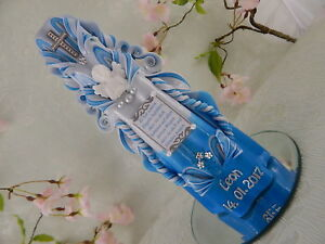 Taufkerze handgeschnitzt blau weiß mit Spruch Taufkerzen Junge handmade