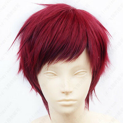 100 Karneval Tsukitachi Short Red Cosplay Wig Free shipping+wig cap