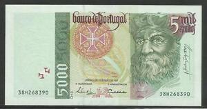PORTUGAL 5000 5,000 ESCUDOS 1997 P 190 AUNC ABOUT UNC