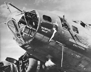B-amp-W-WW2-Photo-WWII-B-17-Memphis-Belle-Nose-Art-USAAF-World-War-Two-US-Army-Air
