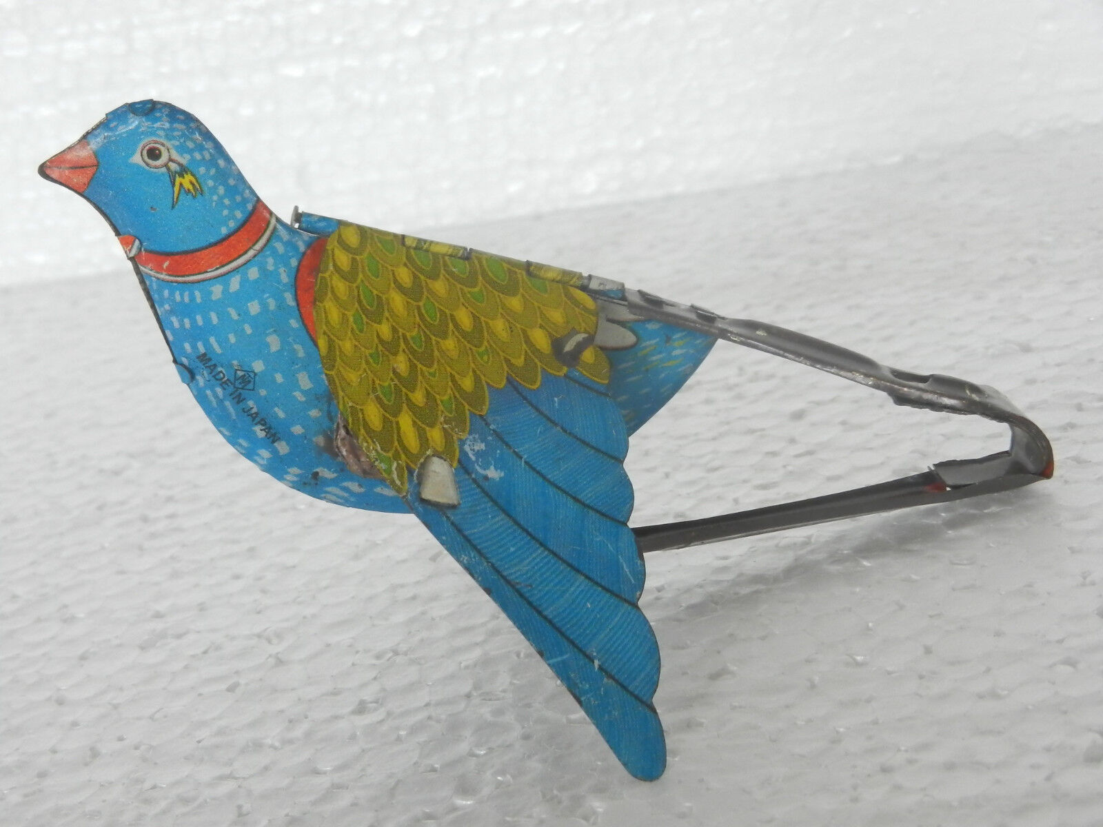Vintage Mt Marca Flying Bird Litografía Estaño Squeeze Juguete, Japón