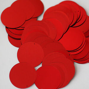 8mm Flat SEQUIN PAILLETTES ~ RED Metallic ~ Round Disc ~ Made in USA.