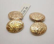 9ct Oro Amarillo Cadena De Oro Vintage Antiguo Gemelos de enlace con diseño de filigrana