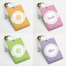 Personalized PU Luggage Tag, Custom Name Bag Tag, polka dots snow, flower