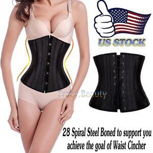 28-Steel-Boned-Belly-Band-Waist-Trainer-Cincher-Body-Shaper-Underbust-Corset-USA