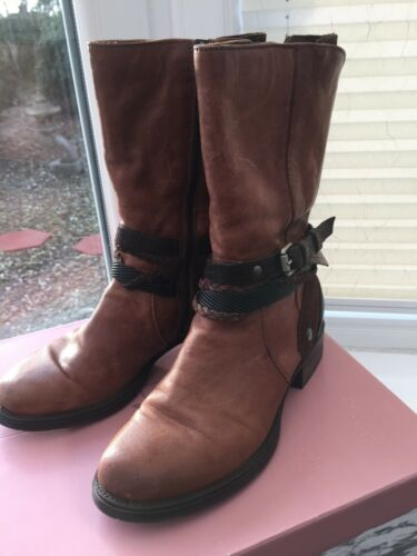 Size uk5 Tan In Moda Pelle Boots Espla 38 Leather xnq6xR8Ytw