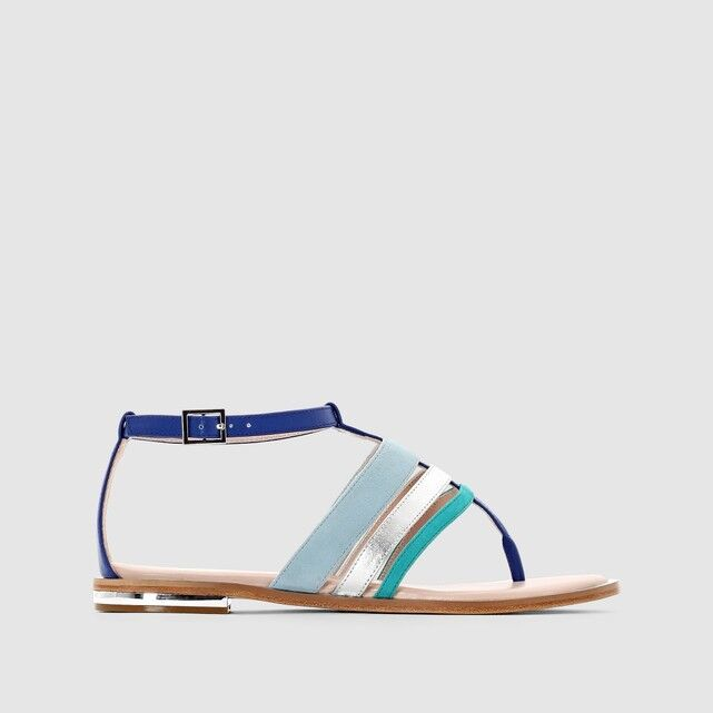 MADEMOISELLE R Sandales Leder Strappy Toe Post Sandales R Blau UK 5 EU 38   LN12 02 85f3b6