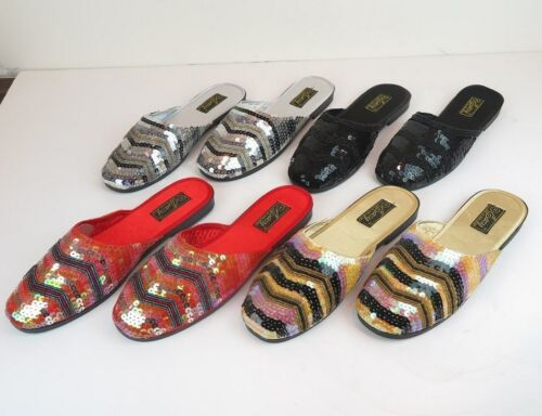 Women/'s Sequin Platform Slippers Sandals Red Gold Silver Black Sizes 5-11 New