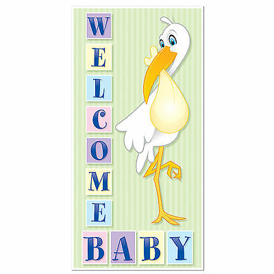 "Welcome New Baby Shower Boy Girl Stork Door Cover Party Decor Decoration 30""x5'"