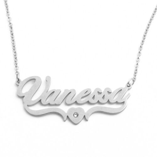 18ct Gold Plated Gift VANESSA Personalised Name Necklace Custom Heart Shaped