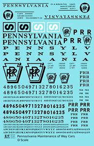 K4-O-Decals-Pennsylvania-Railroad-PRR-MOW-Maintenance-Of-Way-Cars-Black