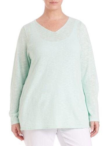 hals 1x Green Slub Formet Eileen Størrelse Organic V Mint Fisher 713259771880 Linen Nw Top Cotton Wx1YT7q