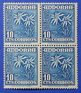 1951 Andorra Spanish 10c Scott# 39 Michel # 54 Unused Nh Block Cs25293 Europe