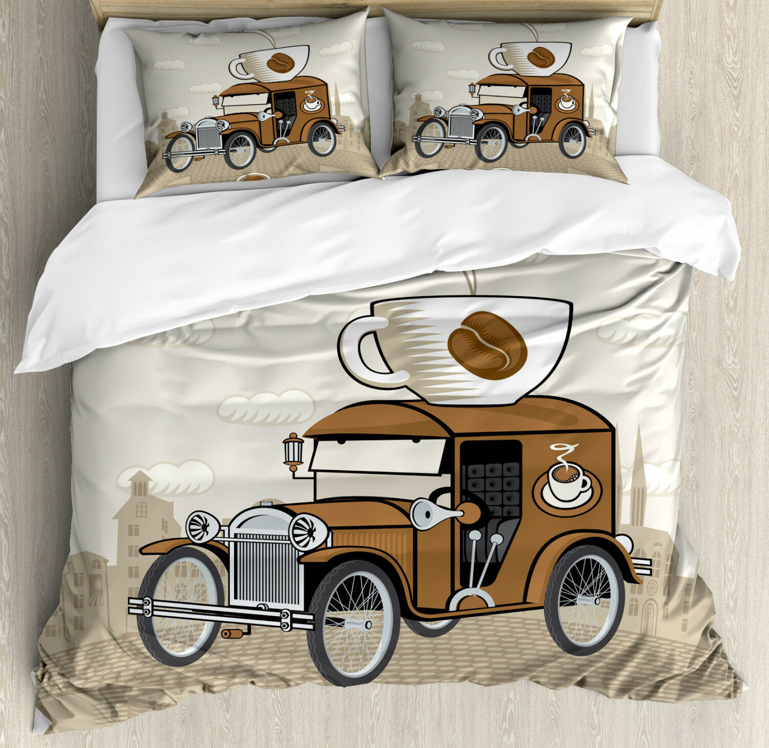 Cars Duvet Cover Set with Pillow Shams Old Fashioned Ride Coffee Print