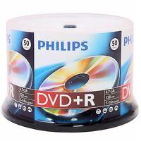 50 Philips 16x 4.7gb Logo Dvd+r Plus R Cakebox [free Priority Mail]