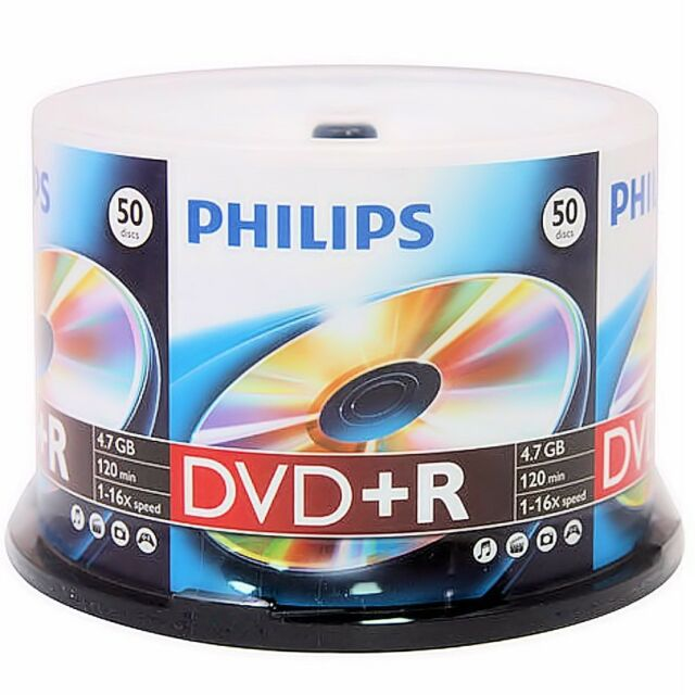 50 New Philips 16X 4.7GB Logo DVD+R Plus R Cakebox [FREE USPS Priority Mail]