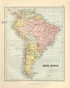 1880 VICTORIAN MAP ~ SOUTH AMERICA ~ BRAZIL CHILE ARGENTINA FALKLAND ISLANDS