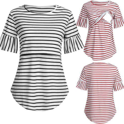 Women Maternity Flare Short Sleeve Tops Summer Nursing Stripe Blouse Tee T Shirt