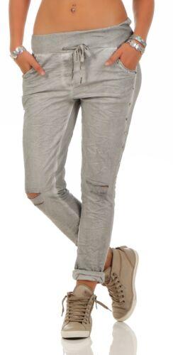 Donna Pantaloni Leggeri Casual Tessuto Pantaloni con buchi laterali Bottoni in Metallo