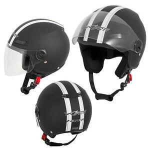 Open Face Jet Helmet Lid Motorbike Scooter Quad Long Visor Matt Black XL