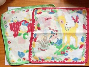 Walt-Disney-Productions-Child-039-s-2-Handkerchiefs-Bambi-Donald-Daisy-Nephews