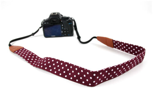 Vintage Polka Dot Carry Strap w// PU Leather Detailing for Panasonic Lumix GF8