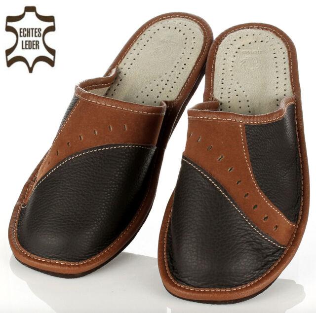 Elegante Herren HausSchuhe Pantoffeln Latschen in braun Schugröße 41 bis 46 NEU
