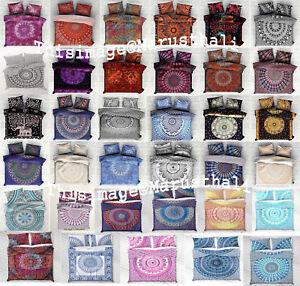 Indische-Mandala-Baumwolle-Bettbezug-Hippie-Cover-Koenigin-Groesse-Bettwaesche-Neu