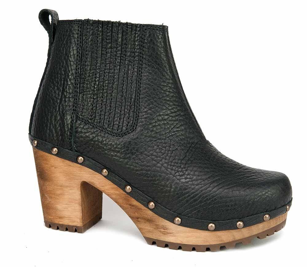 Sanita VANDA CHUNK bottes Holzsohle Leder noir noir Plateau 458390-2 NEU