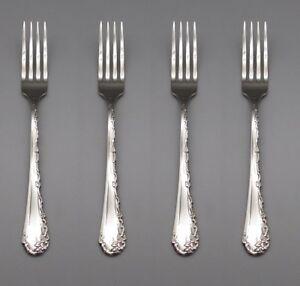 SET-OF-FOUR-Oneida-Stainless-Flatware-BELLE-ROSE-Dinner-Forks-USA