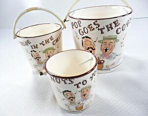 Tilso-Chip-Bowls-Pop-Goes-the-Corn-3-Piece-Set-Popcorn-Nuts-Japan-52-929-Vtg