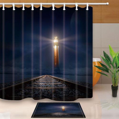 Lighthouse and train tracks Bathroom Fabric Shower Curtain 180x180cm-71inch
