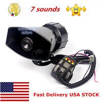 Us 60w 12v 7 Sound Car Truck Alarm Police Fire Loud Speaker Pa Siren Horn W/mic