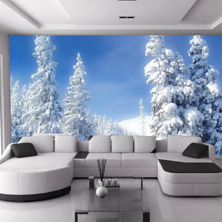 Snow Winter Tree Forest Wood Sky Photo Wallpaper Mural Room Poster Decoration