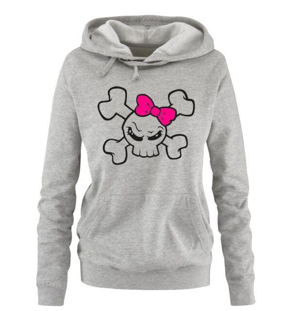 Comedy Shirts - GIRL SKULL - Damen Hoodie | NEW FUN MOTIV