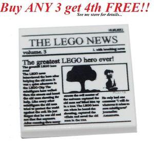 NEW-Lego-2x2-White-Minifig-Newspaper-FLAT-TILE-Printed-w-The-Lego-News
