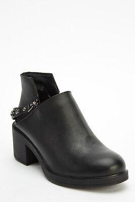 Haben Sie Einen Fragenden Verstand Ankle Shoes With Studs Zips Biker Black Boots Size Uk 5 Eu 38 (995) GläNzend