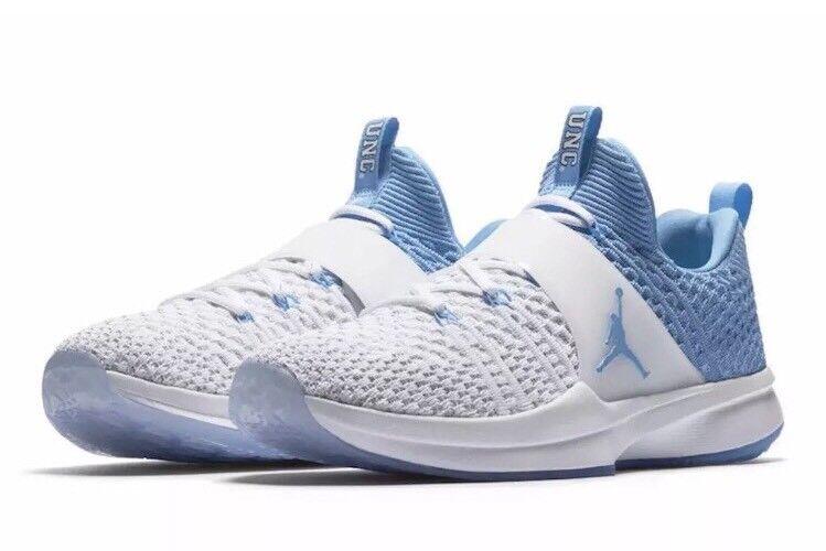 NWT Nike Jordan Trainer 2 Flyknit  UNC Tarheels bluee White - 921210-106 - SZ-18