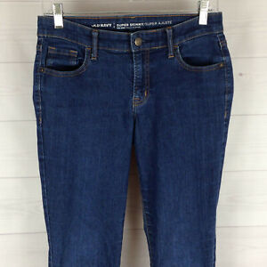 Old-Navy-womens-size-4-stretch-blue-RIPPED-med-wash-SUPER-SKINNY-mid-rise-jeans