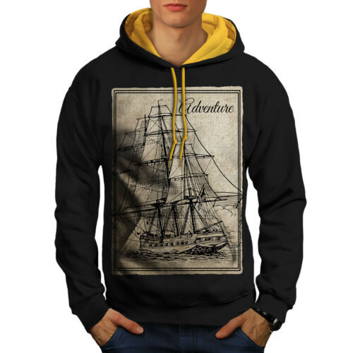 Wellcoda Old Classic Sailboat Mens Contrast Hoodie Huge Casual Jumper