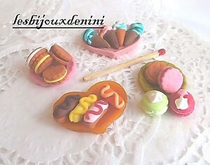 Gateaux-lot-16-pcs-Miniature-Cuisine-Fimo-Decor-pr-Dollhouse-Maison-Poupee-Scrap
