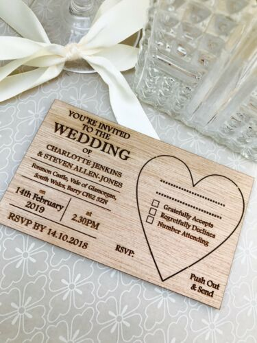 Wooden Post-Card Style Vintage Rustic. Personalised Wedding Invitations