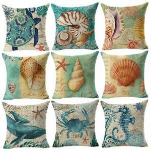 Am-Retro-Sea-Animal-Linen-Pillow-Case-Cushion-Cover-Cafe-Home-Office-Decor-Heal