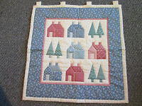 Handmade Quilted Pre-printed Fabric Wall Hanging Houses --trees